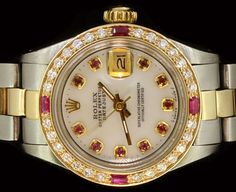 Rolex Ladies Datejust Oyster Stainless Gold Diamond Ruby Dial Automatic Luxury #Rolex #Luxury