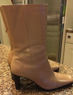 Diba Tan Mid Calf Leather Boots Womens Size 6.5 M Side Zip High Heel #Diba #MidCalfBoots #Casual