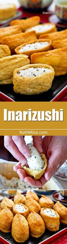 Inarizushi - sushi rice stuffed in sweet soy sauce flavored tofu pouches. They are the perfect food on-the-go and are fun and tasty to eat. | RotiNRice.com