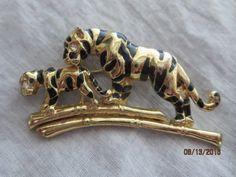 Tiger and cub  gold tone black enamel brooch pin with rhinestone eyes #Unknown