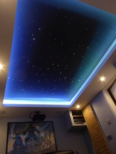 Great for a cinema room, sensory room or kids bedroom. Co… Amazing ceiling idea! Great for a cinema room, sensory room or kids bedroom. Company called Skyscape set them up in your home in the U. Home Cinema Room, Home Theater Rooms, Home Theater Room Design, Ceiling Decor, Ceiling Design, Bedroom Ceiling, Ceiling Ideas, Dream Home Design, House Design