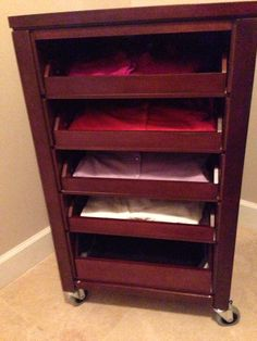 """Craft Cart w/ Pull-Out Trays for my collection of cardigans. 30+ cardigans neatly folded and color coded. Room for more. Sidebar: I❤️you, MyHubby. Thanks for assembling the seemingly never ending parts. Surely worth the Joyful shriek when you presented it and Melodious humming as I gathered my cardigans to organize. """"HappyWife HappyLife"""""""