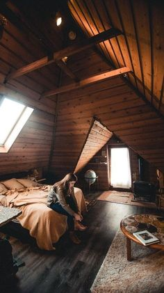 Uplifting Walk Up Attic Renovation Ideas Ridiculous Ideas: Attic Apartment Beautiful inexpensive attic remodel. A Frame Cabin, A Frame House, Attic Renovation, Attic Remodel, Attic Bedrooms, Cabin In The Woods, Attic Apartment, Apartment Ideas, Cabins And Cottages