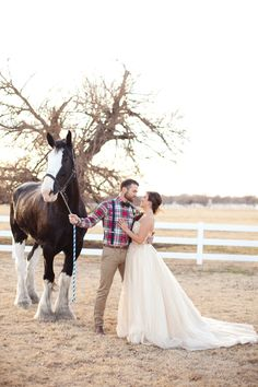 Oklahoma Winter Wedding Inspiration by Des Marie Photography  Read more - http://www.stylemepretty.com/oklahoma-weddings/yukon/2014/02/27/oklahoma-winter-wedding-inspiration/  rustic, chic, winter wedding, pretty, bride and groom, clydesdale, gold dress