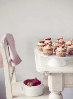 strawberry cupcakes with lemon buttercream.