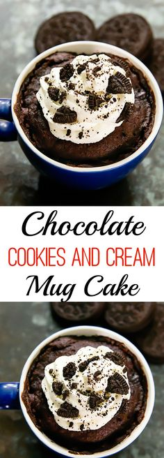 Chocolate Cookies and Cream Mug Cake. Single serving cake ready in minutes!