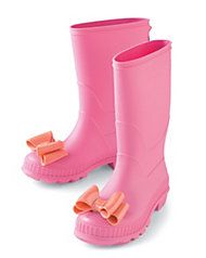 girls pink bow rainboots