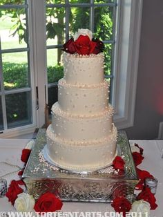 Red Rose & Pearl Wedding Cake http://www.tortesntarts.com/gallery.html