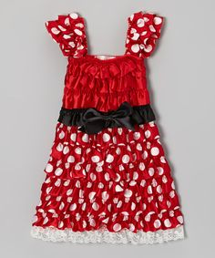 Take a look at this Red Polka Dot Ruffle Dress - Infant, Toddler & Girls on zulily today!