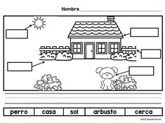 Spanish Writing prompts and labeling activities for students inPre-K,  Kindergarten, and first grade. Picture prompts with helpful common Spanish vocabulary, so that students can use new words as they use the writing prompt. Great for literacy centers and