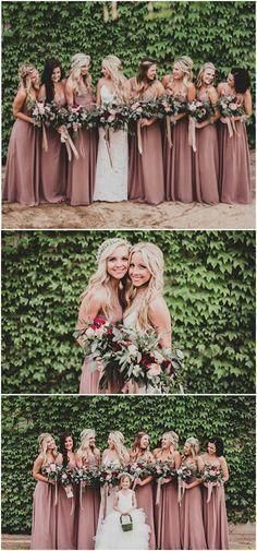 Sweetheart long cheap chiffon simple soft floor length formal bridesmaid dresses top 10 fall wedding colors for 2020 trends youll love Dusty Rose Bridesmaid Dresses, Formal Bridesmaids Dresses, Dusty Rose Dress, Bridesmaid Dress Colors, Wedding Dresses, Wedding Bouquets, Fall Wedding Bridesmaids, Formal Dresses, Bridal Party Dresses