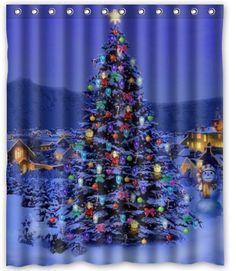 Shining Christmas Trees High Quality Custom Fabric Shower Curtain 48wx72HMerry Amazon Dp B00Q8AMTNC Re