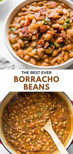 Tender and creamy Borracho Beans (or Frijoles Borrachos) are an easy Mexican dish made from pinto beans simmered in a beer broth with bacon, onions, tomatoes and spices. Serve with a side of cornbread or flour tortillas for the perfect Tex-Mex dinner! Authentic Mexican Recipes, Easy Mexican Dishes, Mexican Dinner Recipes, Mexican Dinners, Mexican Desserts, Side Dish Recipes, New Recipes, Cooking Recipes, Chili Recipes