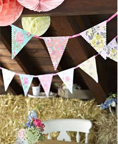 Vintage Style Party Flag Bunting Scrumptious Pretty Pennant Banner FREE P&P ts4