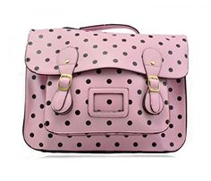 Ladies Girl's Women's School Satchel Bags Handbags Large College Bag Butterfly Owl Horse Dotty Dot Fashion Designer Quality Faux Leather Bag CWS00226 CWS00226P CWS00226E CWS00226D (3352-S-Pink/Black Dot)