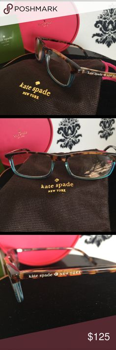 KATE SPADE ♠️ New York Prescription Eyeglasses Authentic Kate Spade prescription eyeglasses. Brown tortoise and Tiffany blue frame. Logo on left temple outside frame. Purchased at Professional Eye Doctor. These are NOT over the counter generic reader glasses. Frames currently have my own Prescribed RX lenses. You will need to have your Dr insert your own RX lenses. Great quality, weighty eye glasses, Arm Frames can be adjusted for exact temple fit. Awesome opportunity for authentic Glasses…