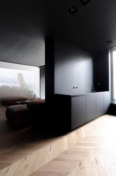 Masculine apartment located in Chisinau, Moldova, designed by Line Architects. Black Room Design, Black Room Decor, Black Interior Design, Mid-century Interior, Black Rooms, Interior Architecture, Interior Decorating, Bedroom Black, Decorating Ideas