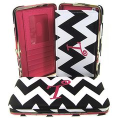 """Letter """"T"""" Initial Personalized Chevron Flat Wallet Clutch Purse. Size : 7.5w X 4.5h X 1d in. - This wallet is Letter """"T"""". Material : PVC Faux Leather. Snap Closure. Plenty of Pockets for Credit Cards. Checkbook Holder Cover Inside."""