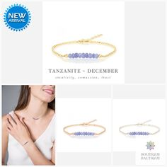 Genuine Tanzanite Bracelet in Gold, Rose Gold or Sterling Silver - Personalized Jewelry Gift for Women - December Birthstone Tanzanite Bracelet, Tanzanite Jewelry, Tanzanite Gemstone, Gemstone Bracelets, Silver Bracelets, Matching Necklaces, Metal Beads, Gifts For Wife, Personalized Jewelry