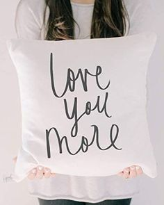 Throw Pillow - Love You More, Handmade in the USA, calligraphy, home decor, wedding gift, engagement present, housewarming gift, cushion cover, throw pillow Decor Wedding, Wedding Gifts, Engagement Presents, Love You More, House Warming, Cushions, Wall Decor, Calligraphy, Throw Pillows