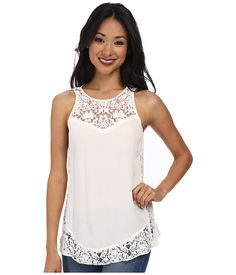 Rebecca Taylor Sleeveless Crepe and Lace Tank Top White Lace Tank Top, White Tops, Rebecca Taylor, Stitch Fix, Personal Style, Tank Tops, Clothes, Dresses, Polyvore