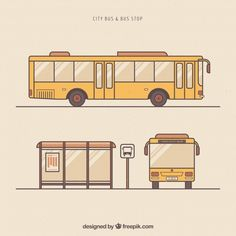Hand drawn urban bus and bus stop Free Vector Cute Cartoon Drawings, Car Drawings, Bus Drawing, Bus Cartoon, Bus Stop Design, Bus Art, Cool Paper Crafts, Bus Life, Photoshop