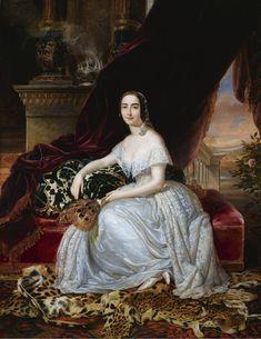 1845 Pietro Luchini - Portrait of Katerina Rosa Botsaris Female Portrait, Female Art, Fashion History, Fashion Art, Fashion Portraits, Victorian Fashion, Vintage Fashion, Gown Drawing, Lady In Waiting