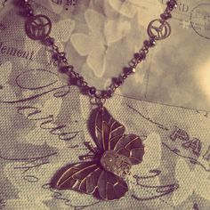 'Mechanical Flutter' available from emeraldinceptions.com #butterfly #gears #swarovski #upcycle #steampunk #emeraldinceptions #picoftheday #instagram