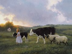 """""""Home For The Night"""" by American artist - Robert Duncan - ) Realistic Paintings, Original Paintings, Robert Duncan Art, Farm Art, Cow Art, Poster Prints, Art Prints, Country Art, Country Life"""