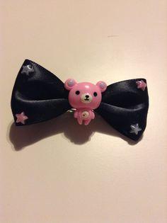 My handmade adorable teddy bear hair bow! #pastel goth #fairy kei #kawaii #cute