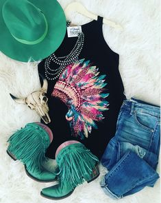 Wild headdress tank, Kancan Jeans junk gypsy by lane boots Cowgirl Outfits, Cowgirl Style, Western Outfits, Western Wear, Cowgirl Fashion, Gypsy Cowgirl, Country Girls Outfits, Country Girl Style, My Style