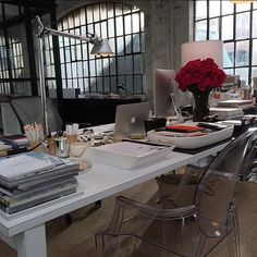 """""""Annie's desk in #theintern. Our first day of shooting at her startup!"""" - nm   Nancy Meyers' behind-the-scenes instagrams on the set of The Intern, starring Robert De Niro and Anne Hathaway."""