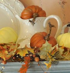 Even though we are well into Autumn, I wanted to share my small splashes of Fall above my kitchen cabinets. I thought it needed a little touch of Autumn up there. Thanksgiving Decorations, Seasonal Decor, Holiday Decor, Harvest Decorations, Thanksgiving Table, Holiday Ideas, Autumn Decorating, Decorating Ideas, Fall Is Here