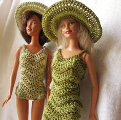 Barbie Doll crochet pattern- Chevron dress and swimsuit with wide brimmed hat