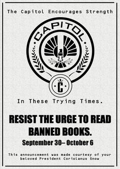 a994ef9309 Hunger Games Banned Books Week poster from the Smith Public Library
