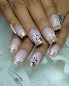Nails Art Flores Roses 68 Ideas For 2019 Fabulous Nails, Gorgeous Nails, Pretty Nails, Fun Nails, Pink Nail Designs, Nail Polish Designs, Cool Nail Designs, Wedding Nails Design, Rose Gold Nails