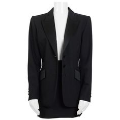 For Sale on - Stunning Yves Saint Laurent black tuxedo/smoking jacket & skirt suit. Made in France - French size 36 - Us size 4 - wool and both pieces lined. Black Skirt Suit, Skirt Suits, Womens Tuxedo Jacket, Balloon Skirt, Smoking Jacket, Pinstripe Suit, Black Tuxedo, Double Breasted Jacket, Vintage Skirt