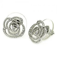 Flower Outline CZ Earrings | Gayle Gaston Jewelry