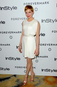 Michelle Williams in Versace Spring 2012 and Versace heels