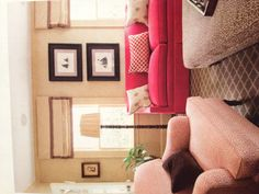 Family room - red, tan, black