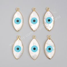 Wholesale Gold Plated Marquise Natural White Shell Evil Eye Charm Bule Turquoise Greek Eye Charm Pendant Gemstone Bead…