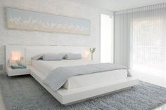 Modern Bedroom By Habachy Designs White Platform Bed Painted Brick Wall Pale Blue Bedding Gray Rug