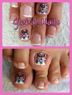 Uñas Pedicure Nails, Mani Pedi, Toe Nails, Toe Nail Color, Nail Colors, Purple And Pink Nails, Cute Nail Art, Nail Designs, Beauty