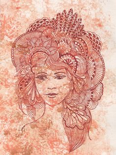 sepia face with zentangle hair on sponged background