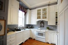 Astonishing Grey Walls In Kitchen White Kitchen Cabinets and Kitchen Island