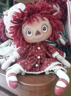 Handmade Primitive Raggedy Ann Doll Annie  Andy Print Cotton Lace Dress