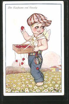 carte postale ancienne: CPA Illustrateur Adolfo Busi: der Kaufmann von Venedig, Elfe avec einem Bauchladen voller Herzen