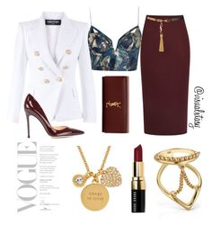 """""""Bordeaux Bish"""" by visualxtasy on Polyvore featuring Iva, Balmain, Yves Saint Laurent, Zimmermann, Gianvito Rossi, Kate Spade, MANIAMANIA, Bobbi Brown Cosmetics, women's clothing and women's fashion"""