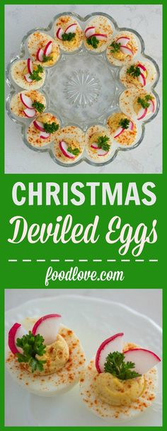 Start a healthier holiday food tradition with Christmas deviled eggs! Deviled eggs get dressed up for the holidays with red and green garnishes. Quick Healthy Desserts, Healthy Holiday Recipes, Healthy Family Meals, Health Desserts, Vegetarian Recipes, Costco Appetizers, Low Carb Appetizers, Strawberry Oatmeal Bars, Blueberry Crumble Bars