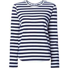Comme Des Garçons Comme Des Garçons striped side flap T-shirt (15.470 RUB) ❤ liked on Polyvore featuring tops, t-shirts, blue, stripe tee, cotton t shirt, striped cotton tee, striped tee and striped t shirt